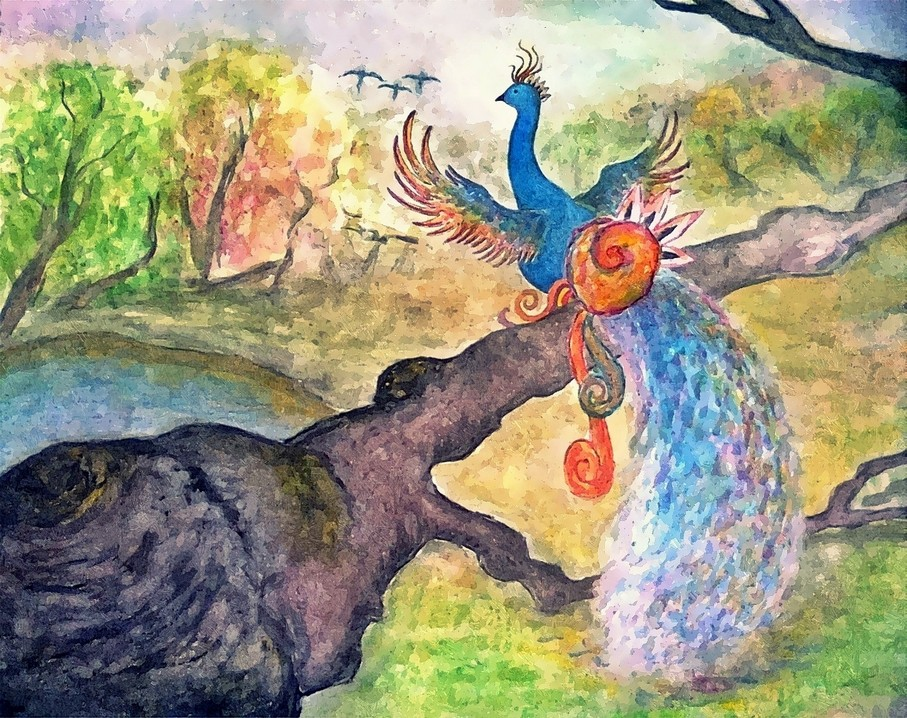 Doodlewash and painting by Sarang Khanna of Peacock in the Woods