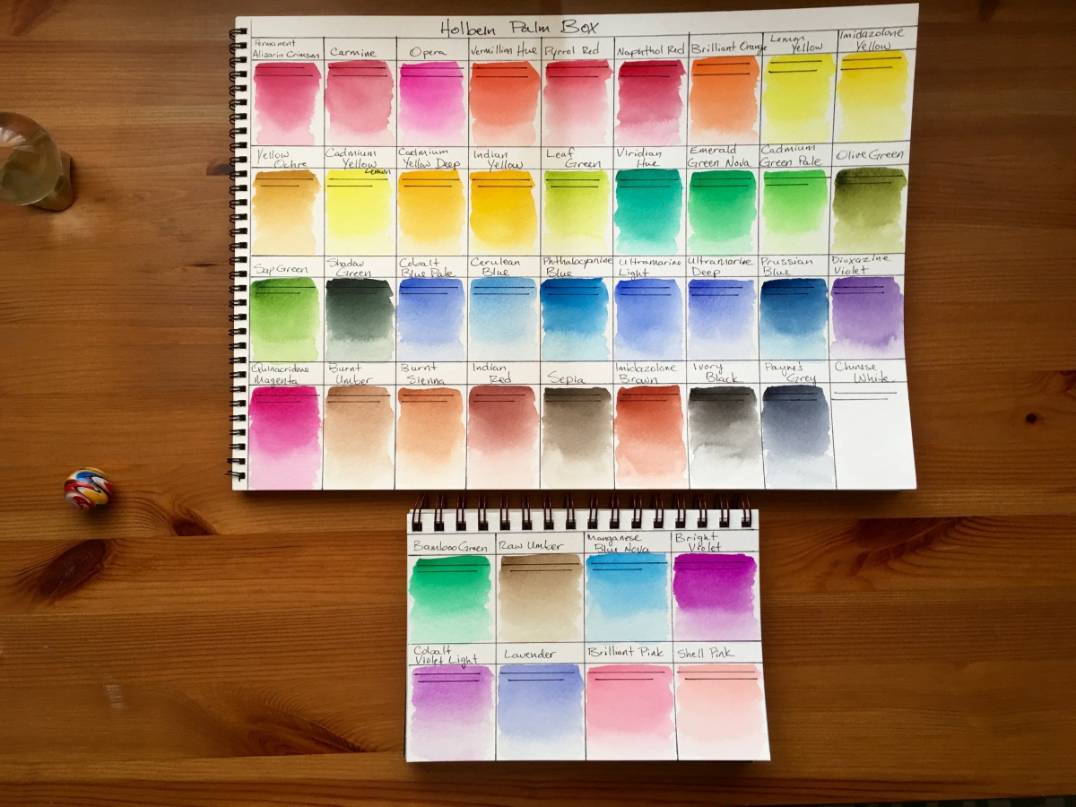 Holbein Palm Box Plus watercolor swatches