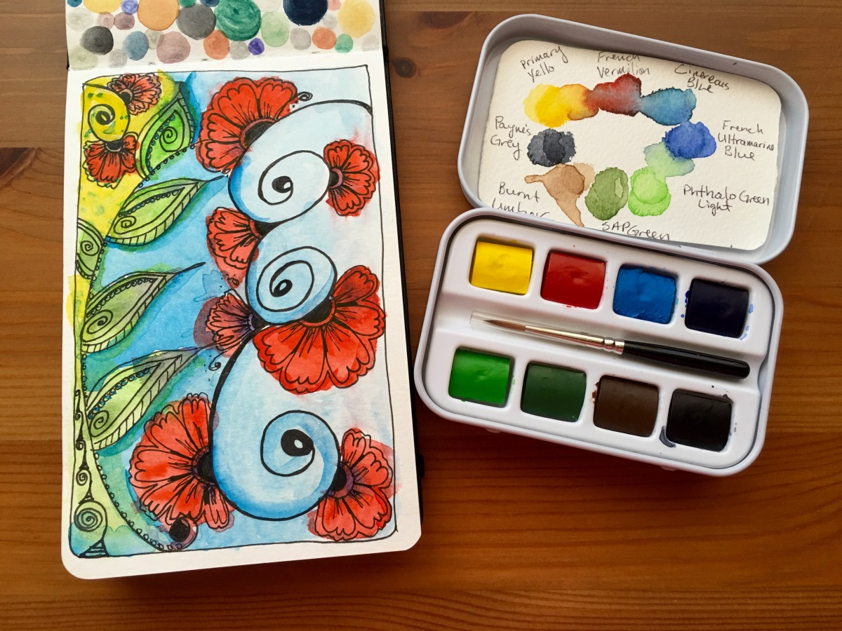 Sennelier Aqua-mini and sample painting in a Moleskine watercolor journal