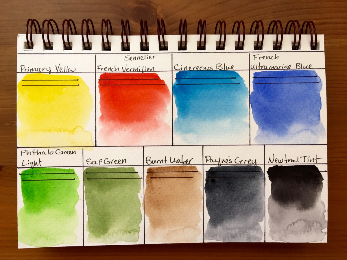 Sennelier watercolor swatches on Strathmore 400 series watercolor paper