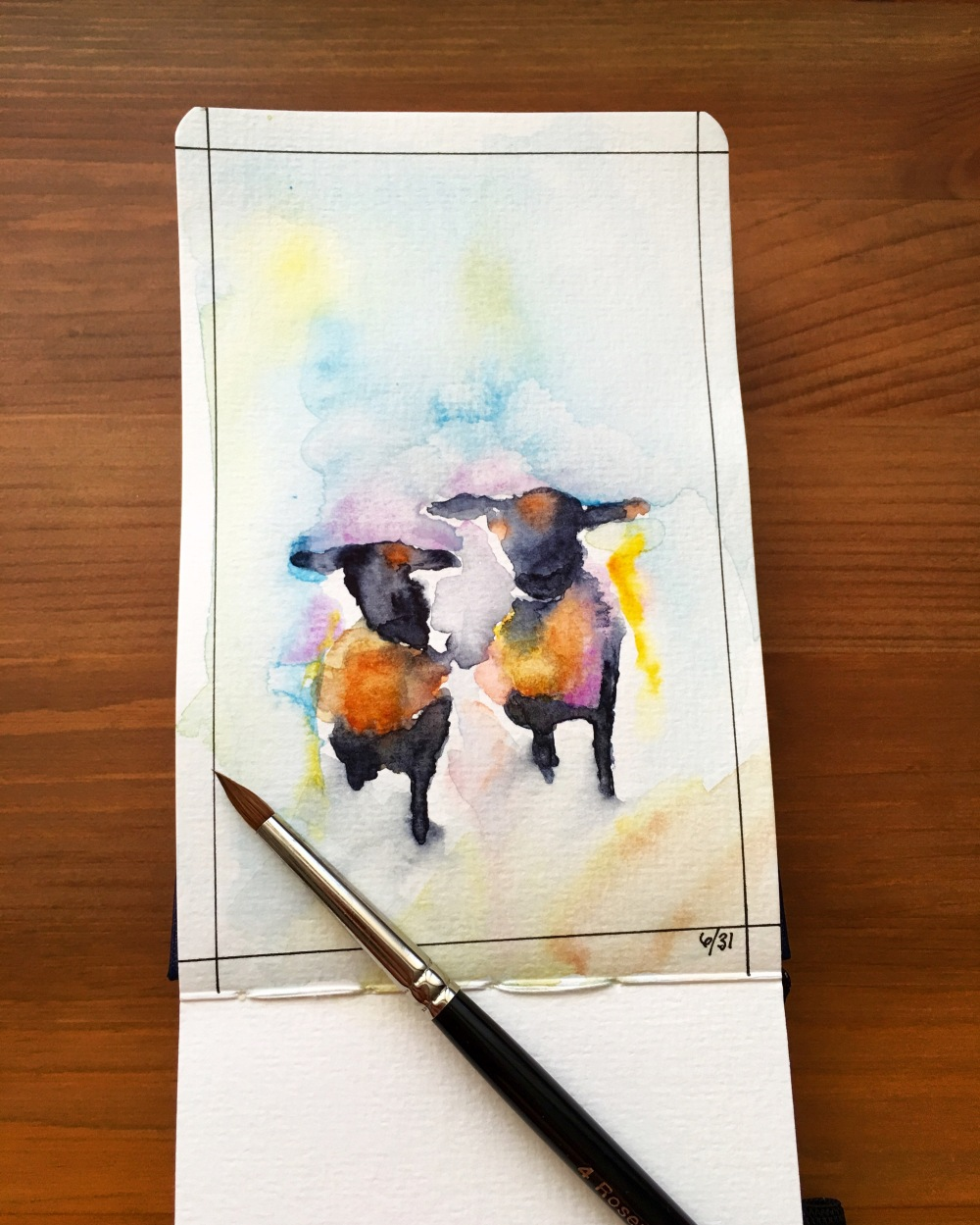 Sheep painting by jessica seacrest in a pentalic watercolor journal using holbein cobalt violet light and manganese blue nova