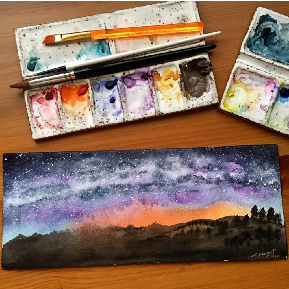 Winsor & Newton waterclor painting by jessica seacrest using limted edition twilight colors