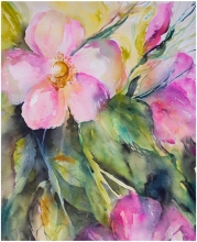 Doodlewash and watercolor sketch by Angela Fehr of pink flowers