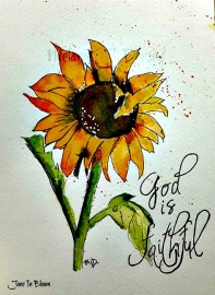 Doodlewash and watercolor sketch by Melanie J. Dorsey of orange flower