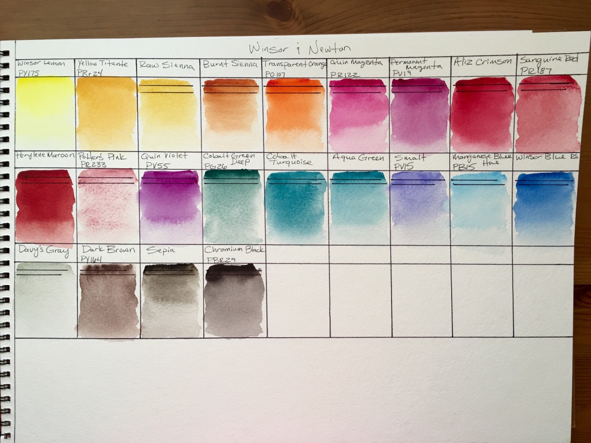 Winsor & Newton watercolor swatches on strathmore 400 series paper