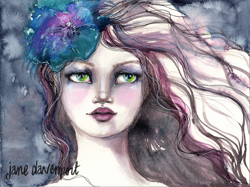 Doodlewash and watercolor by Jane Davenport of woman with flower in hair