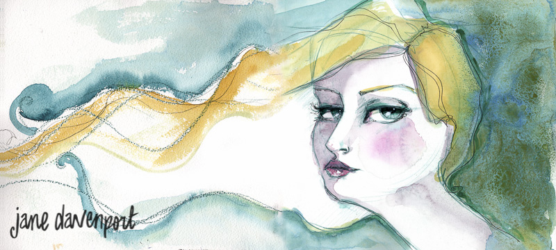 Doodlewash and watercolor by Jane Davenport of woman's face
