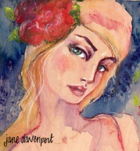 Doodlewash and watercolor by Jane Davenport of woman with red flower in hair