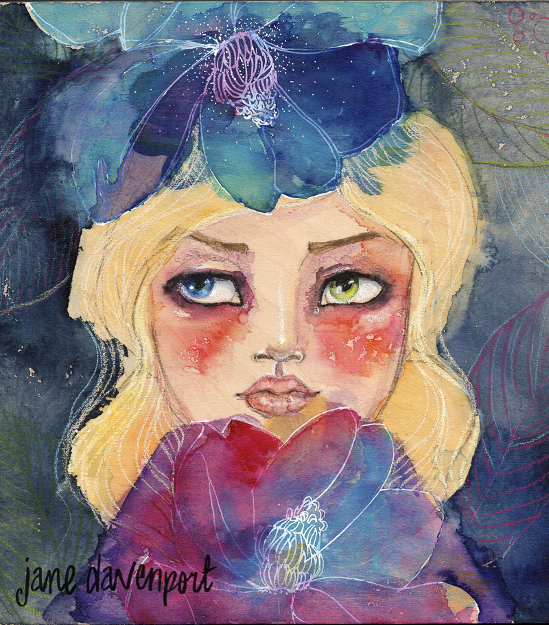 Doodlewash and watercolor by Jane Davenport of woman with flower