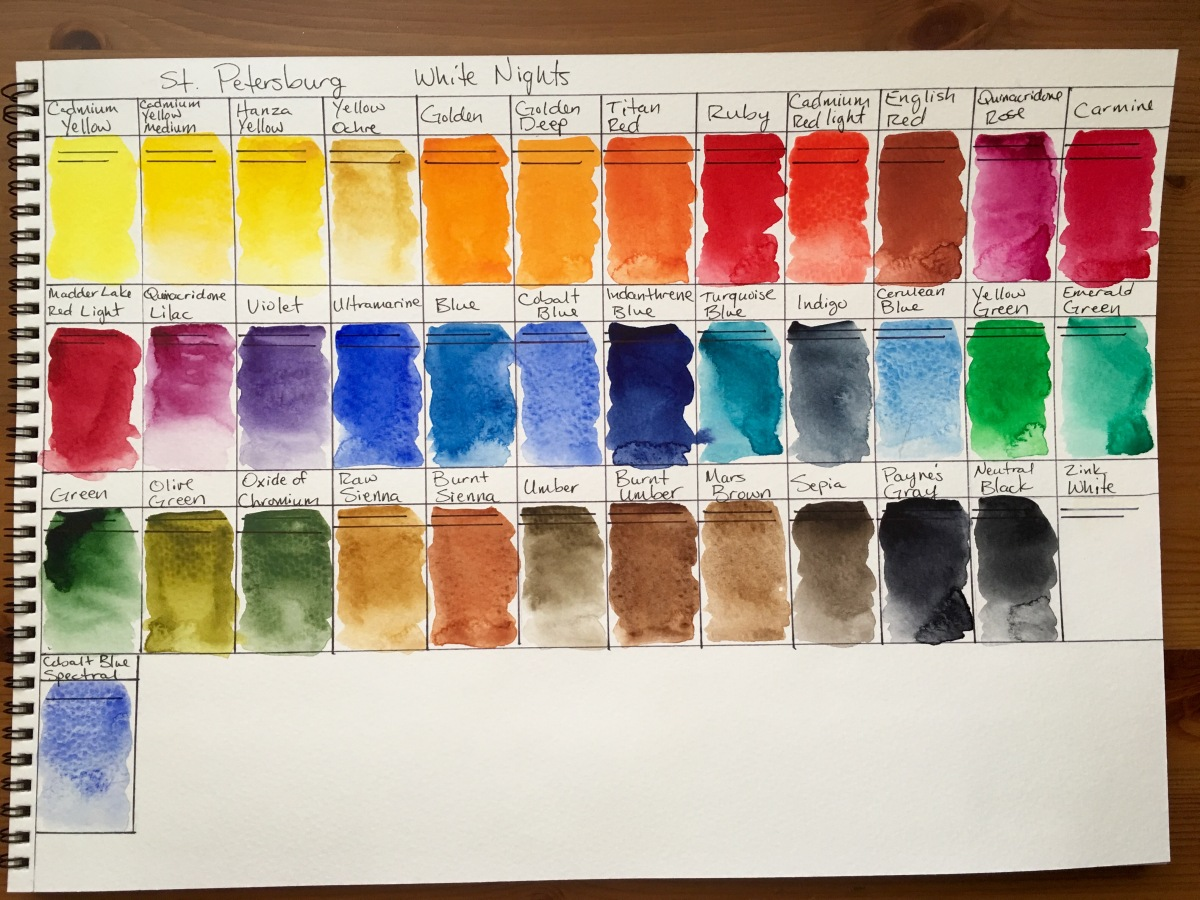 White Nights Watercolour 36 palette set with watercolor swatchs