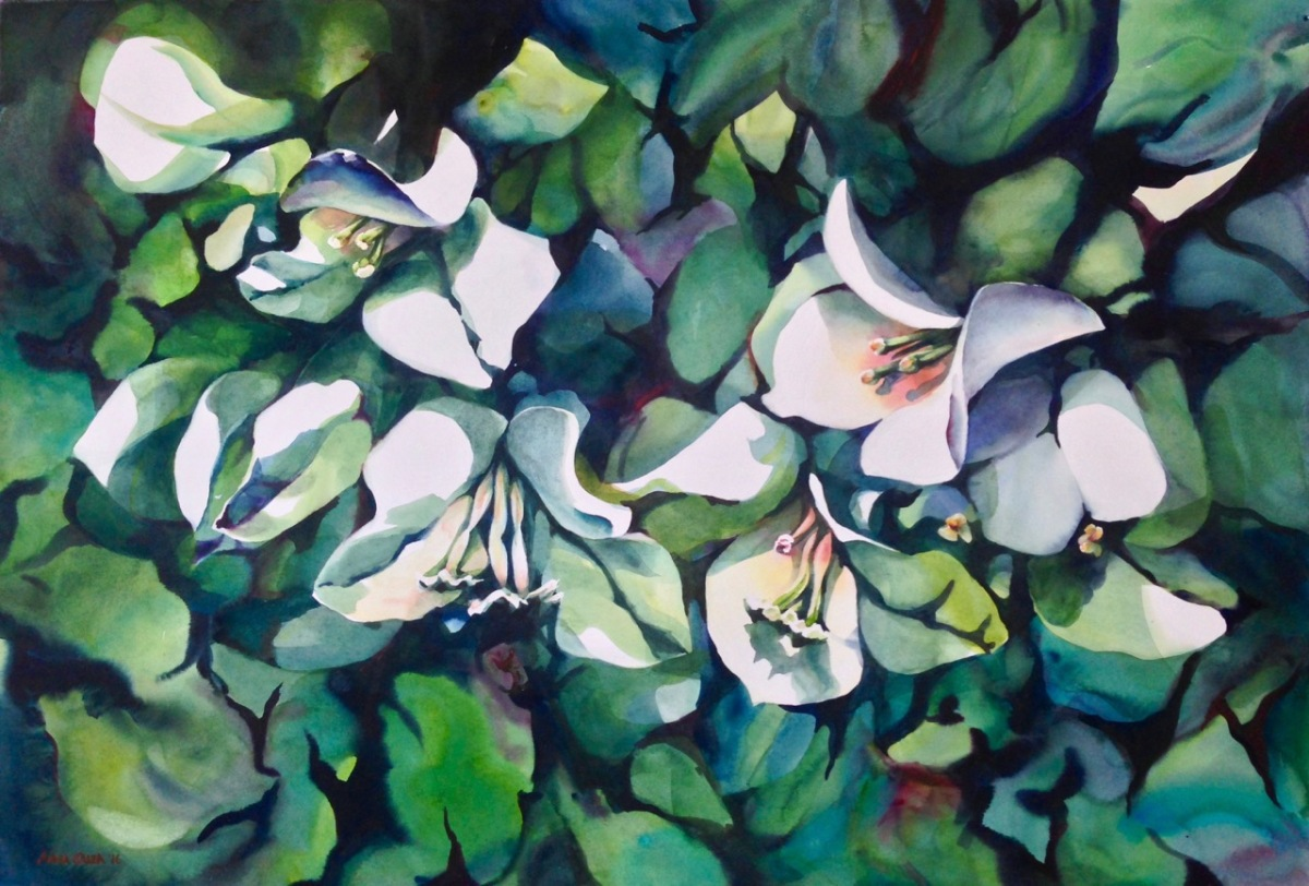 Doodlewash - #WorldWatercolorGroup Watercolor by Anna Galea of flowers and leaves
