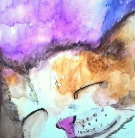 Doodlewash - Watercolor by Charu Jain of cat sleeping