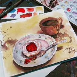 #Doodlewash - Watercolor by Lindsay Weirich of dessert and coffee #WorldWatercolorGroup