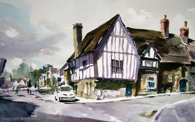 Doodlewash - Plein Air Watercolor Painting by Jem Bowden of corner of Lacock