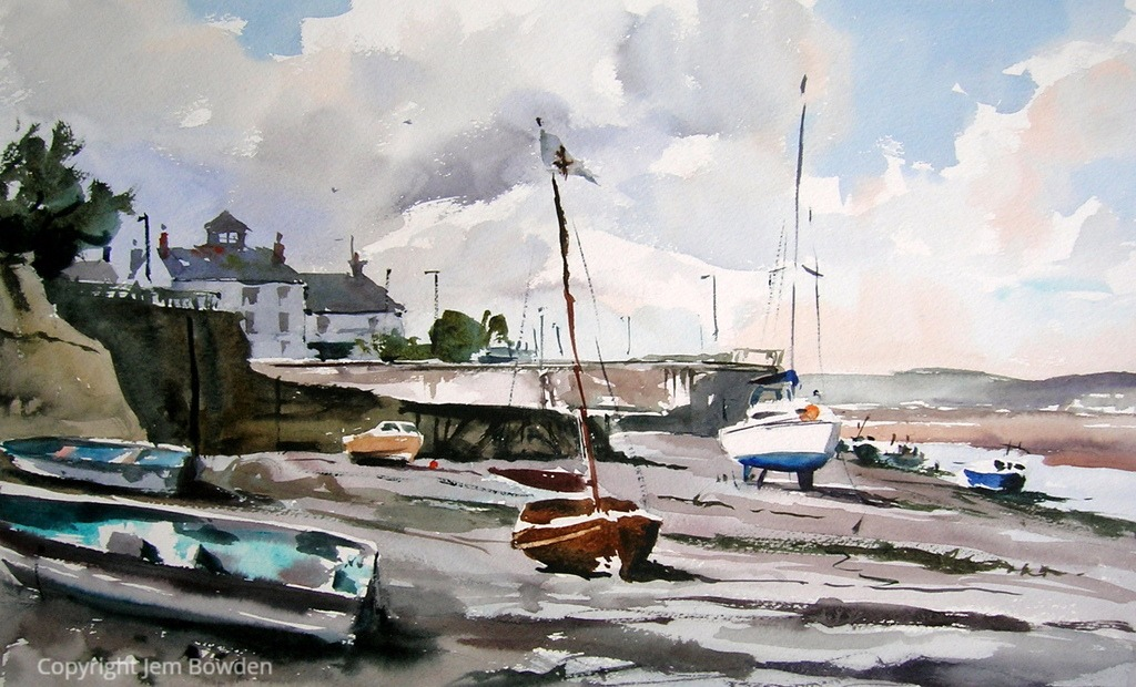 Doodlewash - Plein Air Watercolor Painting by Jem Bowden of Appledore boats at low tide