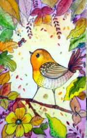 Doodlewash - Watercolor by Charu Jain of autumn bird