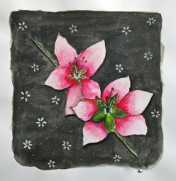 Doodlewash - Watercolor painting by Athira Gopal of pink flowers