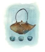 #Doodlewash - Watercolor illustration by Lucile Prache (Lucile's Kitchen) of blue teapot #WorldWatercolorGroup
