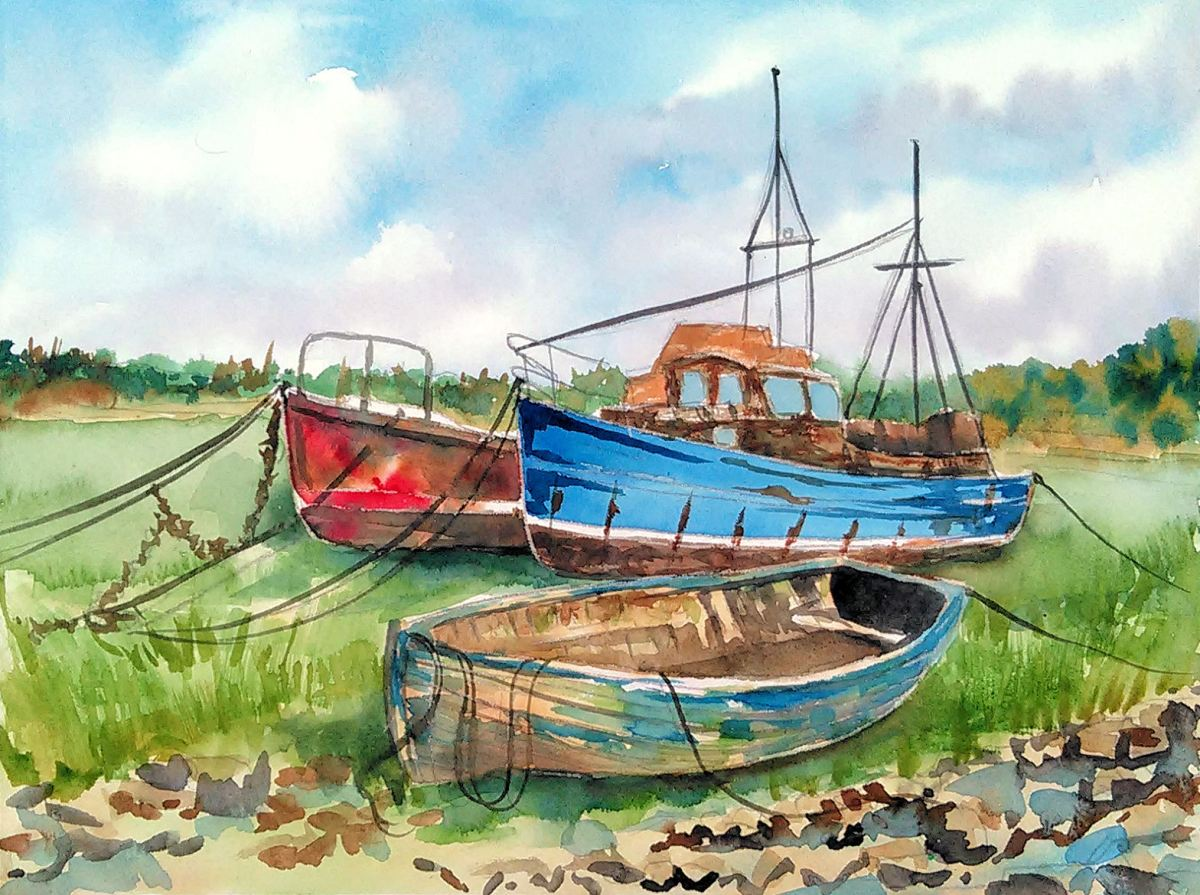 #Doodlewash - Watercolor by Lindsay Weirich of boats #WorldWatercolorGroup