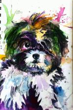 Doodlewash - Watercolor by Charu Jain of Dog