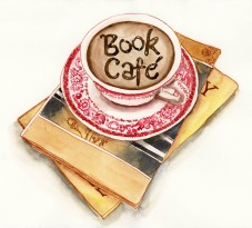 Doodlewash and watercolor sketch by Meliessa Garrison Elliott of Book Cafe