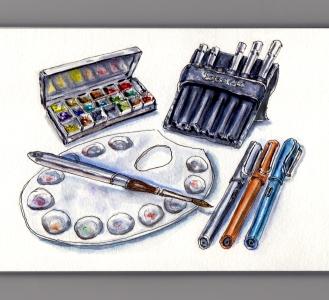 My Favorite Art Supplies #WorldWatercolorGroup Cheap Joe's Travel Palette Escoda Versatil Travel Brushes Metal Palette Lamy Safari Al Star Fountain Pens