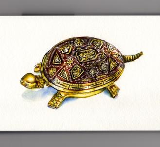 My Favorite Family Keepsake #WorldWatercolorGroup Brass Turtle Hotel Bell