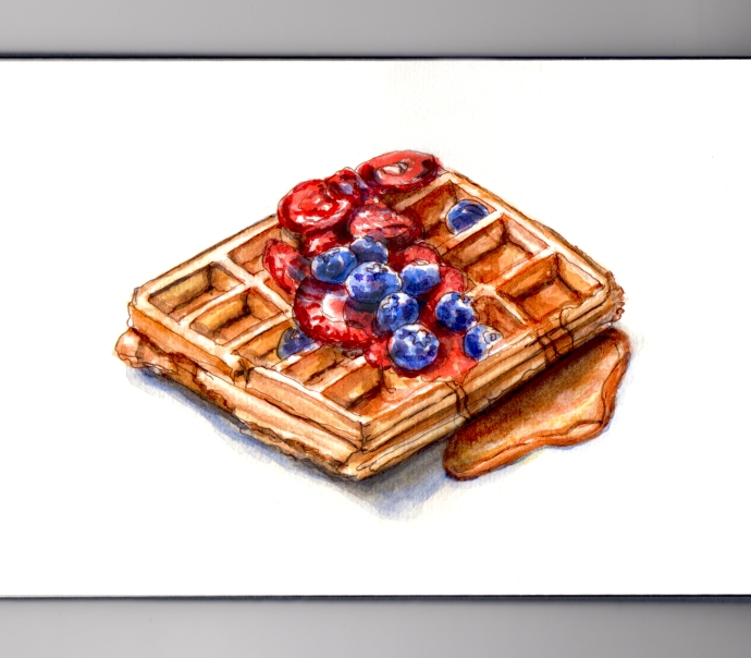 My Favorite Breakfast Food Waffle with Strawberries and Blueberries