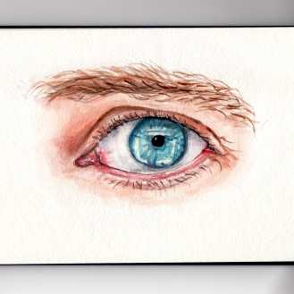 Day 25 #WorldWatercolorGroup My Favorite Body Part Blue Eye Macro Watercolor Sketch