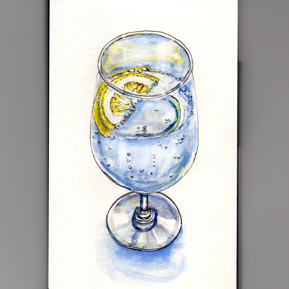 My Favorite Drink - #WorldWatercolorGroup Sparkling Water in Glass with Lemon
