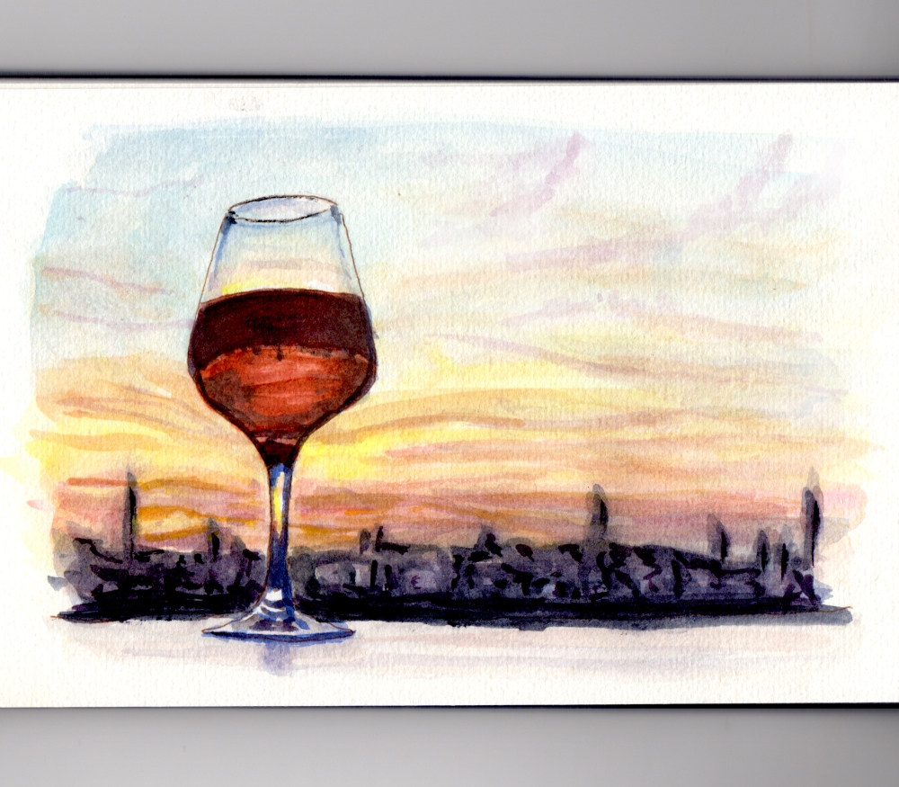 Day 27 My Favorite Place to Watch The Sunset Wine Glass and reflections evening