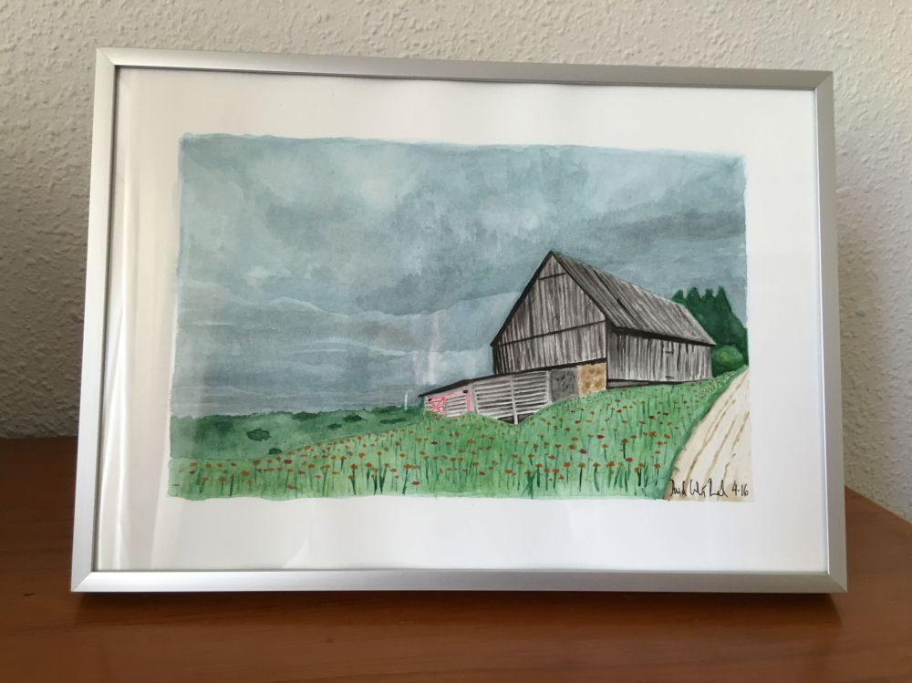 Doodlewash and watercolor by David Calderón Real of barn