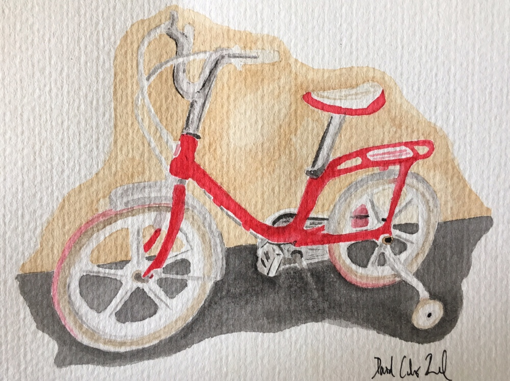 Doodlewash and watercolor by David Calderón Real of chidren's bicycle with training wheels