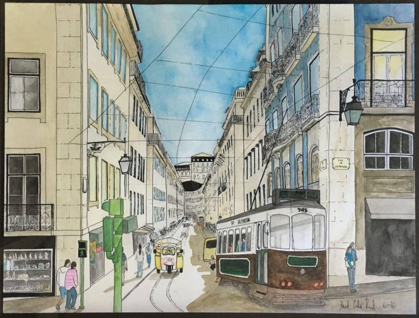Doodlewash and watercolor by David Calderón Real of city street