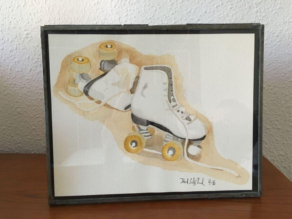 Doodlewash and watercolor by David Calderón Real of roller skates