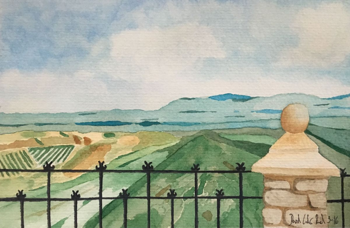 Doodlewash and watercolor by David Calderón Real of view from balcony