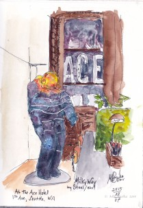 Doodlewash and watercolor sketch by Kate Buike of Ace Hotel