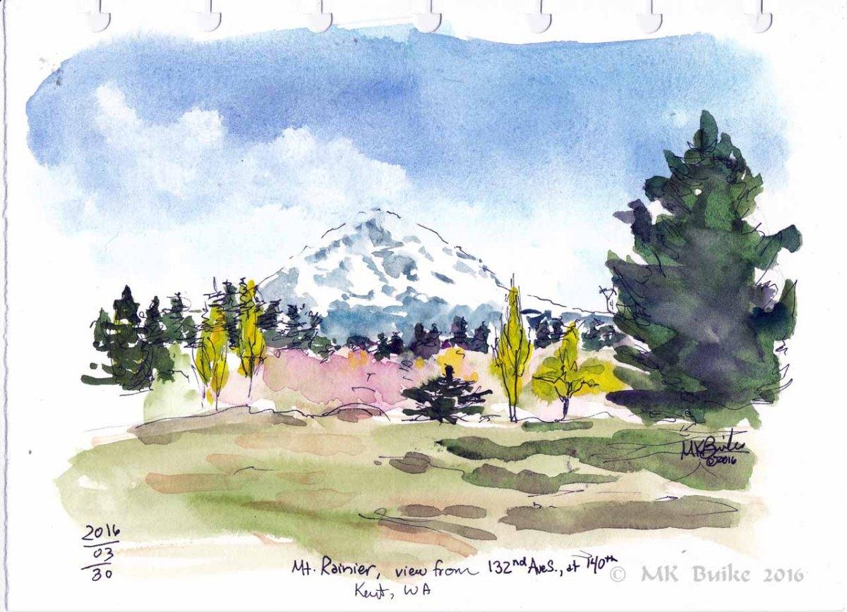Doodlewash and watercolor sketch by Kate Buike of Mt. Rainier