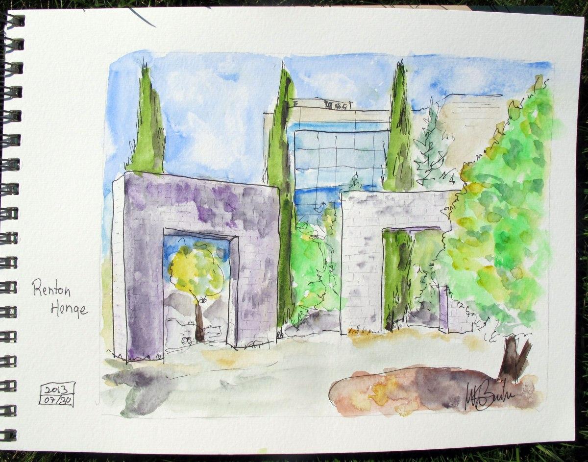 Doodlewash and watercolor sketch by Kate Buike of Renton Henge