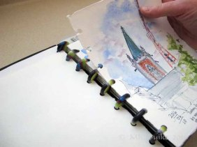 Doodlewash and watercolor sketch by Kate Buike of custom sketchbook