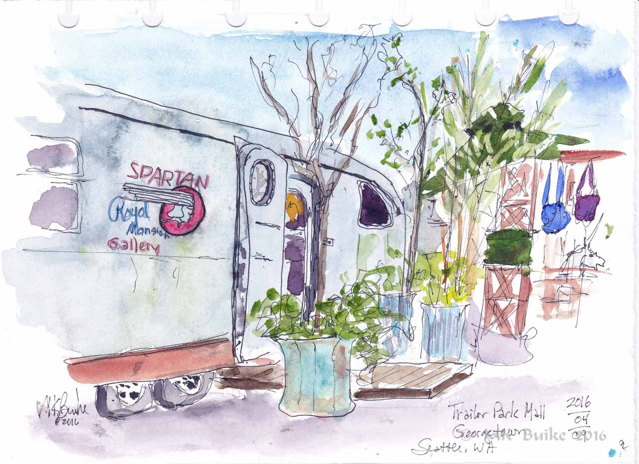Doodlewash and watercolor sketch by Kate Buike of trailer