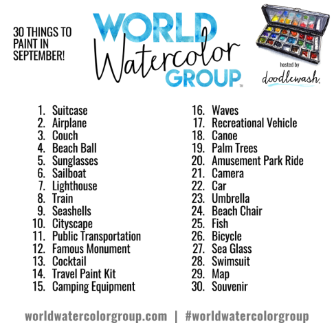 Doodlewash September 2016 Adventure Prompts World Watercolor Group