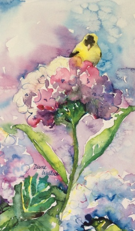 Doodlewash - Watercolor painting by Diane Wallace of yellow bird on flower