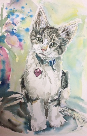 Doodlewash - Watercolor painting by Diane Wallace of cat
