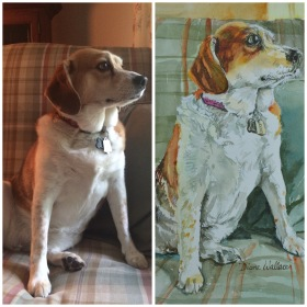 Doodlewash - Watercolor painting by Diane Wallace of pet portrait of dog
