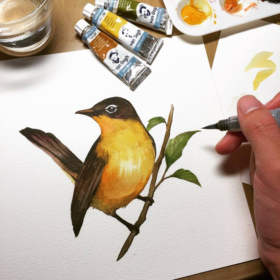 Doodlewash - Watercolor painting by Yoa Khuan of bird