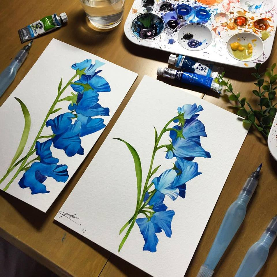 Doodlewash - Watercolor painting by Yoa Khuan of blue flowers