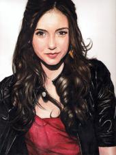Doodlewash - Watercolor painting by Yoa Khuan of Nina Dobrev