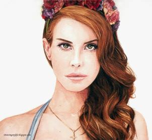 Doodlewash - Watercolor painting by Yoa Khuan of Lana Del Rey