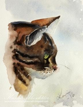 Doodlewash - watercolor painting by Karin Åkesdotter of cat